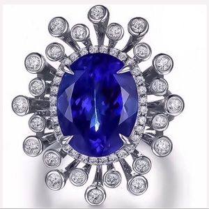 Jewelry - 925 Silver & 3.62 Carat Lab Tanzanite CZ Ring